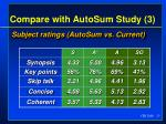 compare with autosum study 3