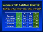 compare with autosum study 331