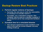 backup restore best practices