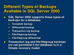 different types of backups available in sql server 2000