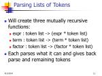 parsing lists of tokens