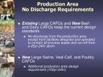production area no discharge requirements