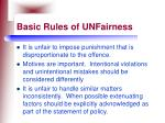basic rules of unfairness