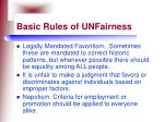basic rules of unfairness130