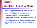 civic duty doing your share