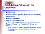 establishing fairness in the classroom