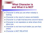 what character is and what it is not
