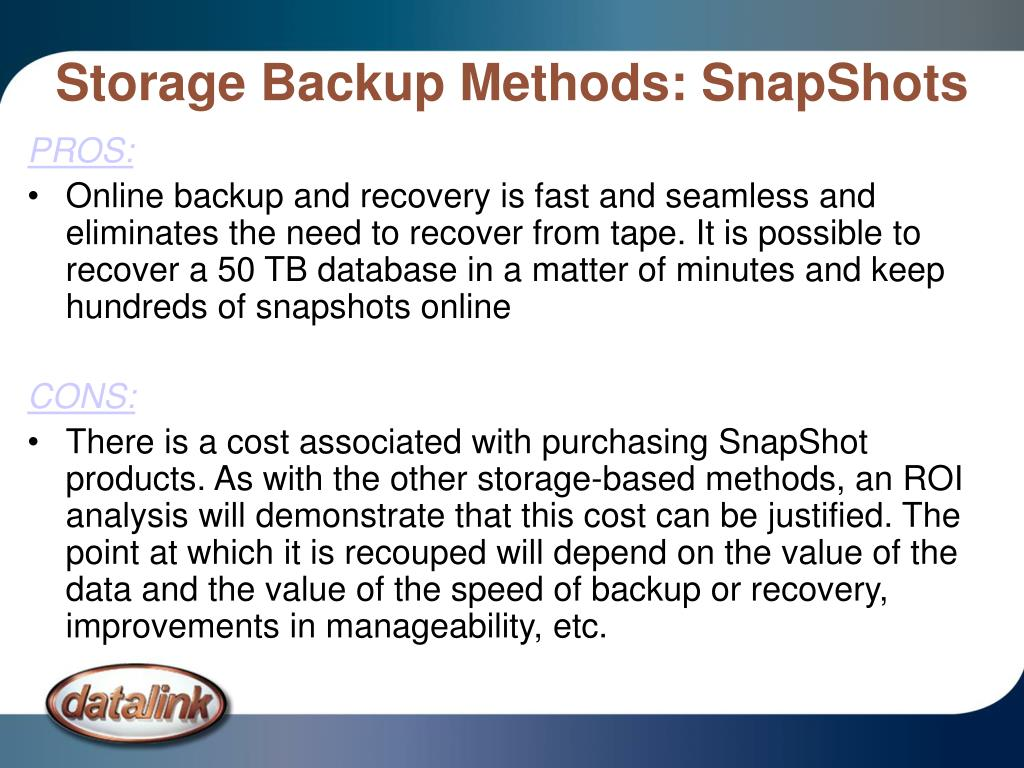 Storage Backup Methods: SnapShots