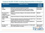 federal health it hie funding opportunities in oregon