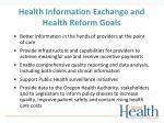 health information exchange and health reform goals