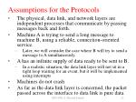 assumptions for the protocols