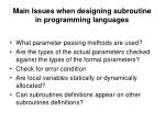 main issues when designing subroutine in programming languages