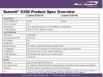 summit x350 product spec overview