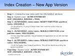 index creation new app version35