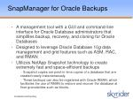 snapmanager for oracle backups