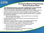 developing minimum requirements general business rules