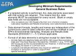 developing minimum requirements general business rules6
