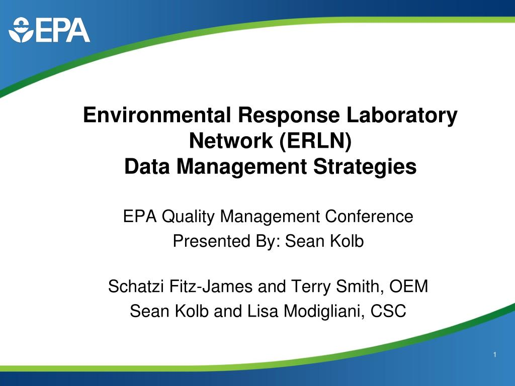 environmental response laboratory network erln data management strategies l.