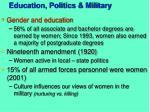 education politics military