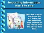 importing information into the file