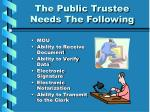 the public trustee needs the following