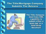 the title mortgage company submits the release