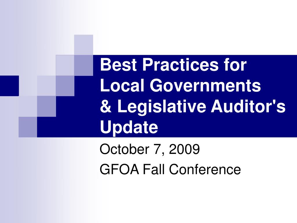 best practices for local governments legislative auditor s update l.