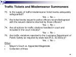 traffic tickets and misdemeanor summonses
