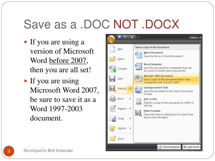 Save as a doc not docx