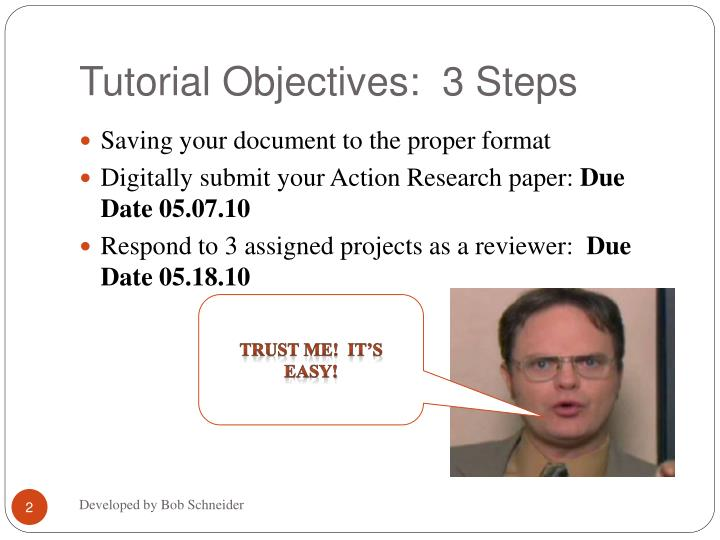 Tutorial objectives 3 steps