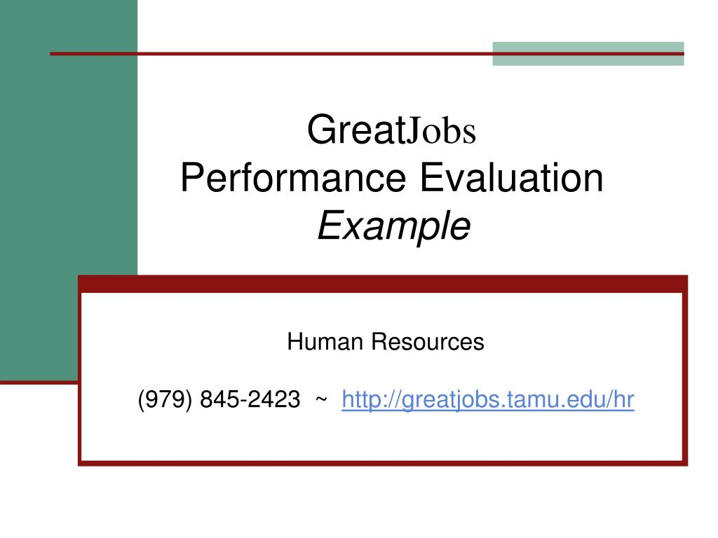 great jobs performance evaluation example l.