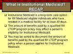 what is institutional medicaid recap60