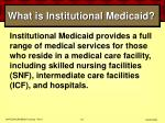 what is institutional medicaid