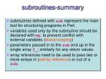 subroutines summary
