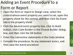 adding an event procedure to a form or report