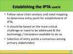 establishing the ipta cont d