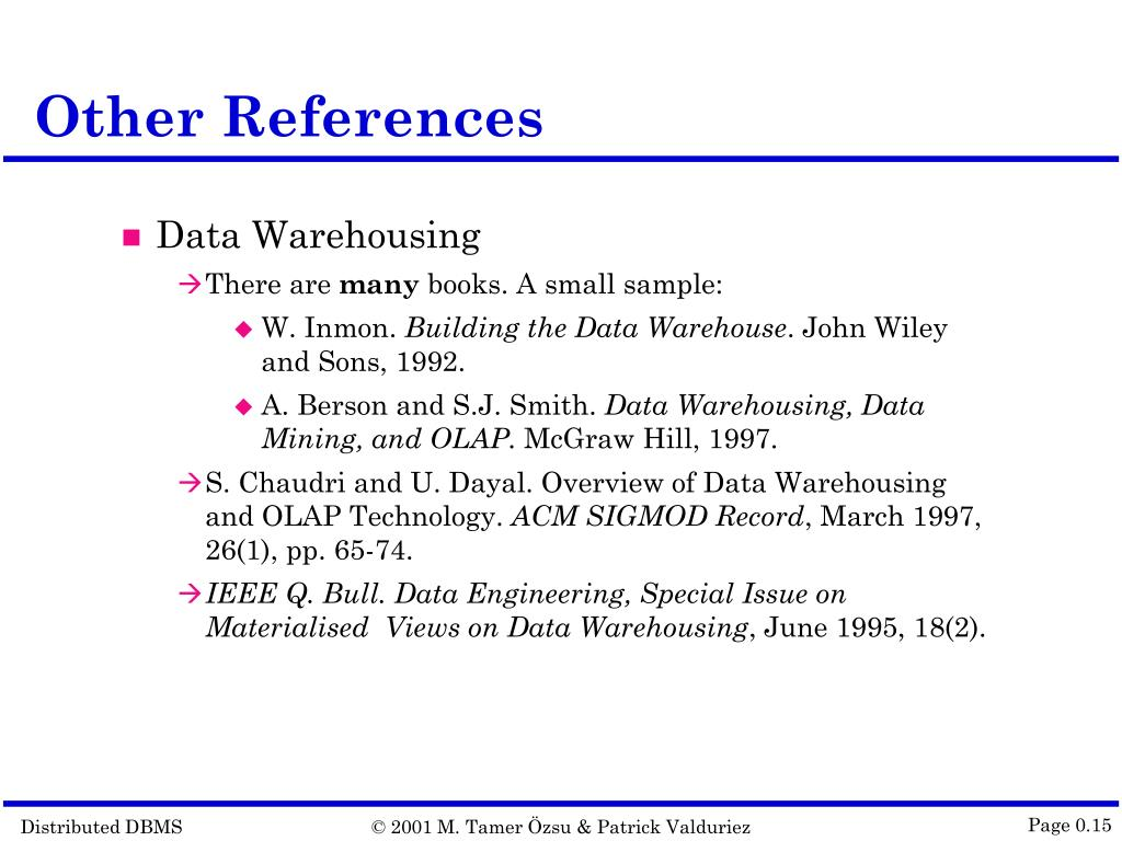 PPT - Distributed Database Systems © 2001 M  Tamer Özsu and