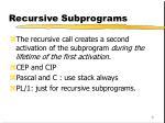 recursive subprograms