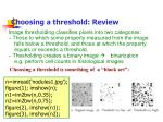 choosing a threshold review