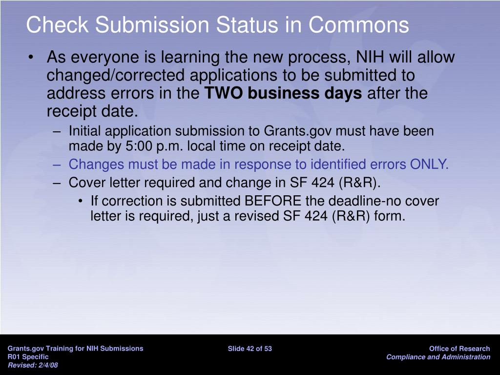 Check Submission Status in Commons