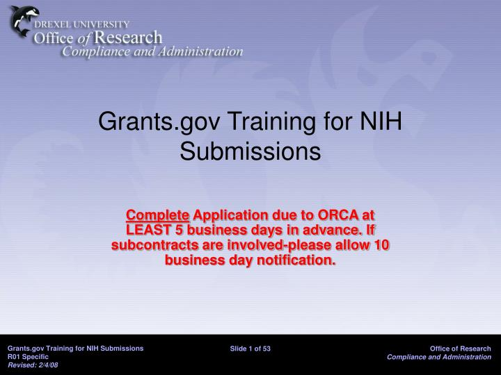 Grants gov training for nih submissions