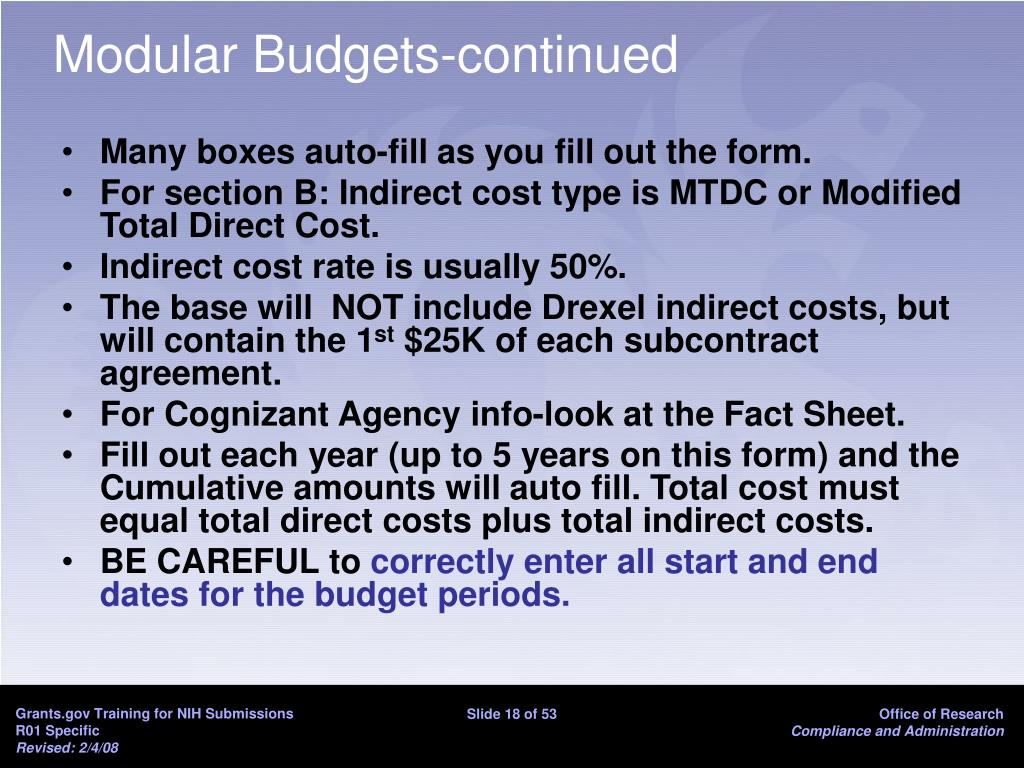 Modular Budgets-continued