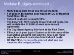 modular budgets continued