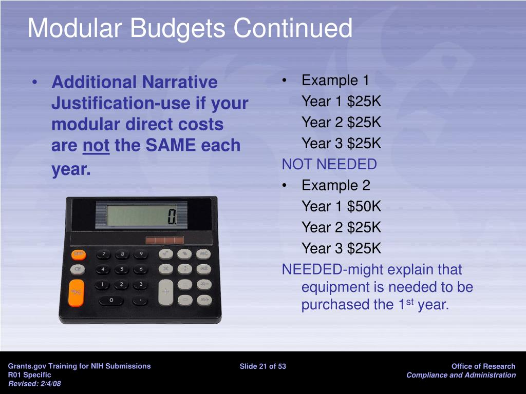 Additional Narrative Justification-use if your modular direct costs are