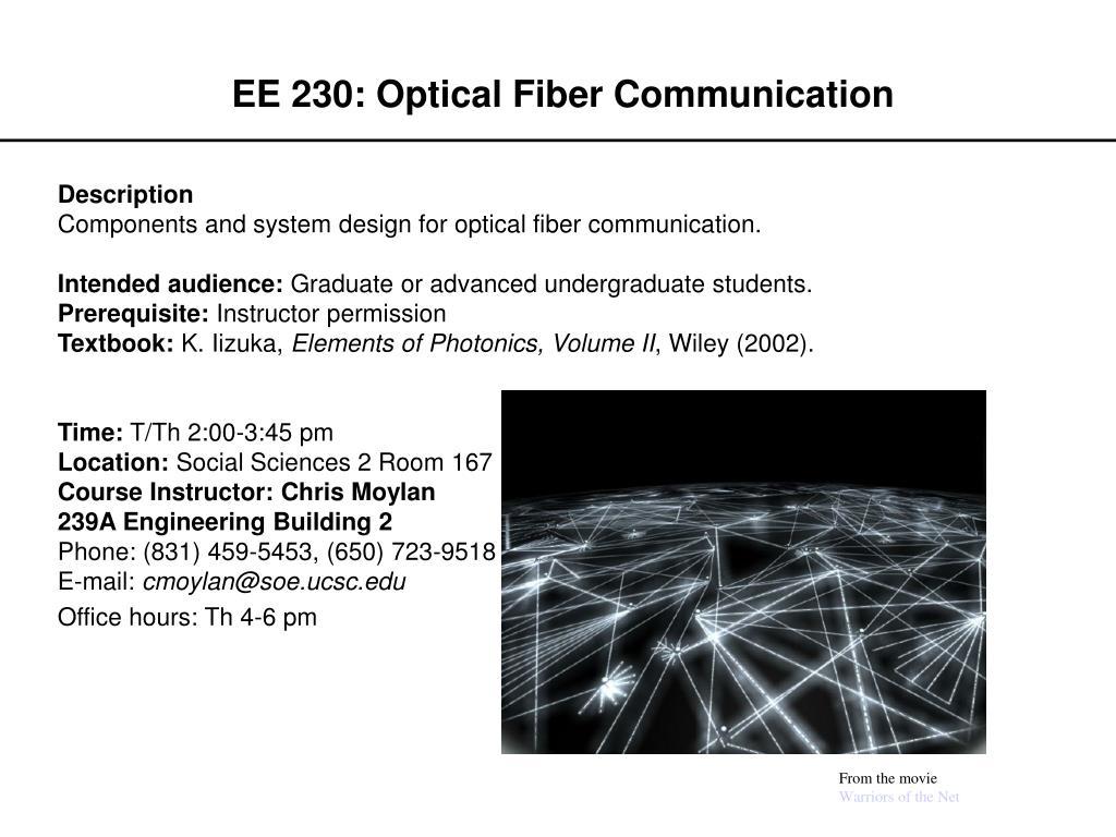 ee 230 optical fiber communication l.