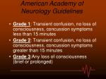 american academy of neurology guidelines