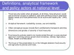 definitions analytical framework and policy actors at national level