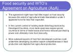food security and wto s agreement on agriculture aoa
