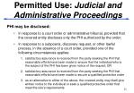 permitted use judicial and administrative proceedings