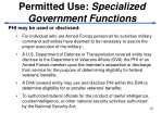 permitted use specialized government functions